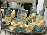 Lot Of Vintage Antique Embossed Glass Medicine Bottles 16ct Bow Gift Wrapped