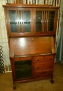 Arts And Crafts Mission Oak Bookcase Desk Cubby Holes Display Cabinet