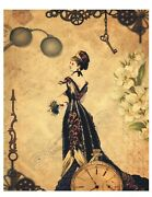 Vintage Victorian Style Steampunk Sign Rustic Clock Gears Woman 8 X 10 Repro