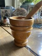 Antique Wood Mortar And Pestle Wood Italian Herbs And Spices