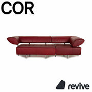 Cor Arthe Leather Sofa Red Three-seater Couch Function
