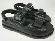Black Cc Logo Quilted Leather Strap Flat Dad Sandals Shoes Womens Size 38