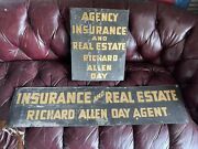 Antique Metal Advertising Trade Signs Smaltz Paint Flange Insurance Real Estate
