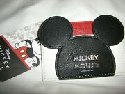 Disney Mickey Mouse Card Holder Wallet Id Holder Black Multi And Keychain New