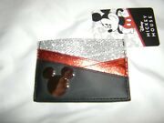 Disney Mickey Mouse Card Holder Wallet Id Holder Silver Glitter And Keychain New