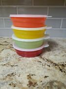 Set Of 4 Tupperware 2415 Microwave Cereal Bowls With 2541 Lids