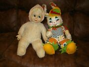 Vintage Rushton Star Creation Rubber Face Bunny Rabbit Plush Toy Doll And Baby