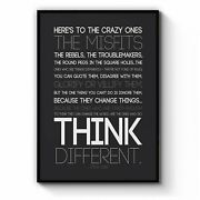 Think Different Steve Jobs Office Quote Wall Art