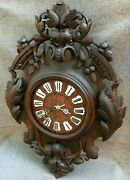 Large Antique Black Forest Clock Germany Woodwork 19th Century 10lb Leaves