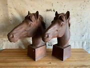 Pair Antique Cast Iron Horse Heads Ranch Gate Entry Large 2and039 H Bust Equestrian