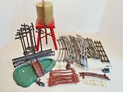 1960s Lionel Model Train O Gauge 9 Pcs Track + Power Poles Fence Water Tower