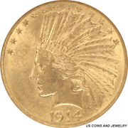 1914-d Indian Head 10 Gold Eagle Small White Holder Anacs Ms 61