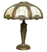 Antique Arts And Crafts Table Lamp Very Rare Curved Slag Glass Shade 8 Panel