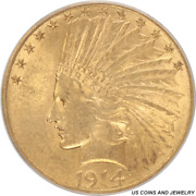 1914-s Indian Head 10 Gold Eagle Old Green Holder Pcgs Au 58
