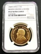 1968 South Africa 1oz Proof Gold Frosted Krugerrand Ngc Pf67 Ucam Frosted O And R