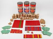 Vintage Wooden Tinker Toys Lot - 325 Pieces W/ Canisters And Instruction Sheets
