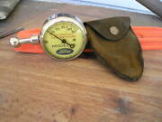 Vintage Model A Ford Us Tire Gauge Antique Suede Pouch Beautiful Display Parts