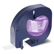 100 12mm For Dymo Letratag Lt-100t 100h 16952 Clear Plastic Refills Label Tape