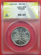 1965 5f France Anacs Ms65. Gorgeous Silver 5 Franc Coin. Tough This Nice721151