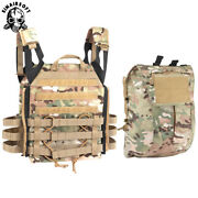 Tactical Molle Zip-on Panel Plate Carrier Vest Avs Jpc 2.0 And Zip Pack Pouch Bag