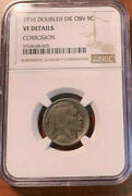 1916/16 Buffalo Nickel Double Die Obverse Ngc Vf Details Corrosion
