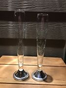 2 Vintage Etched Glass Bud Vase W/weighted Sterling Silver Base Duchin 9.5 And 9