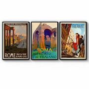 Set Of Vintage Rome Italian Travel Advert Wall Art Print Poster Framed Or Canvas