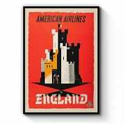 American Airlines - England Vintage Travel Wall Art