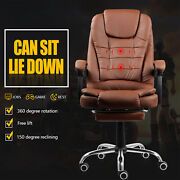 Gaming Chair Computer Swivel Steel Feet Pu Leather Seat W/foot Pads 2 Colors Uk