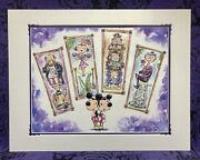 Disney Haunted Mansion Matted Print Mickey Minnie Stretching Stretch Room Scare