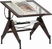 Glass Top Drafting Light Table Pencil Groove Shelf Adjustable Height Office Desk