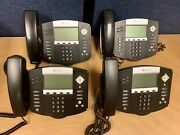 Lot Of 4, Polycom Soundpoint Ip 550 Phones W/ Curly Cords, Handsets And Stands