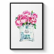 Pink Floral Perfume Bottle Fashion Flowers Wall Art