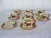 Vintage Franciscan Apple Pottery Cup And Saucer 7 Sets 1 Extra Saucer