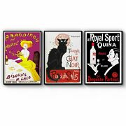 Set Of French Cafe Vintage Advert Cafe Wall Art
