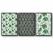 Set Of 3 Green Leaf Pattern Nature Wall Art Print Poster Framed Or Canvas