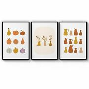 Set Of 3 Terracotta Abstract Kitchen Wall Art Print Poster Framed Or Canvas
