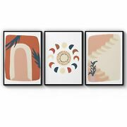 Set Of 3 Abstract Terracotta Style Home Wall Art Print Poster Framed Or Canvas
