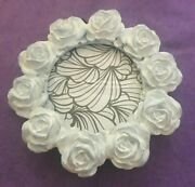 Azzure Home Pic Frame - White And Pale Blue Rose Decorative Round - 2 3/4 Photo