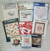Lot Of 9 Cross Stitch Kits Samplers Earrings Love Notes Red Hat Purse