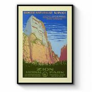 Zion National Park Usa Vintage Travel Wall Art