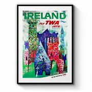 Vintage Ireland Twa Airline Travel Advert Wall Art Print Poster Framed Or Canvas