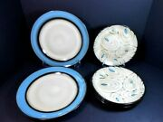 7 Pc Lot Pier One Teal Reactive Plates -- 2 - Dinner Plates And 5 - Salad Plates