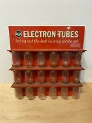 Vintage 1959 Rca Electron Tube Metal Display Stand Sign Parts Rack A.m.d. Co.