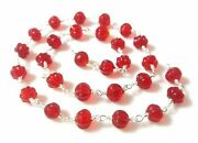 10 Feet Red Quartz Muskmelon Carved 6-7mm Hydro Beads Silver Wire Rosary Chain