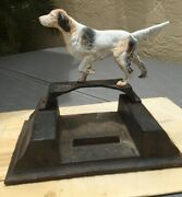 Antique Cast Iron English Setter Boot Scraper Hubley Number Rusty And Worn Perfect