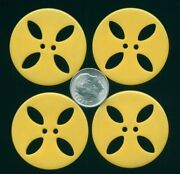 Set Of 4 Big Yellow Pierced Casein Buttonsandhellip1and3/8