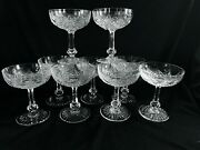 Baccarat France Set Of 8 Vintage Cut Crystal Champagne Goblets + 5 As-is Cond.