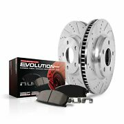 Power Stop K2066 Front Ceramic Brake Pad And Cross Drilled Slotted Combo Rotor