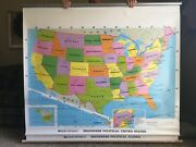 Large Pull Down School Maps 2 Layer World, U.s. Vintage, Salvage, Old, Antique.
